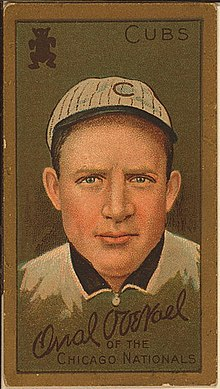 "Baseball card showing a head shot of a man facing forward wearing a white hat with a ""C"" on it.  The card says ""Cubs"" in the upper right corner and says ""Orval Overall of the Chicago Nationals"" on the bottom."