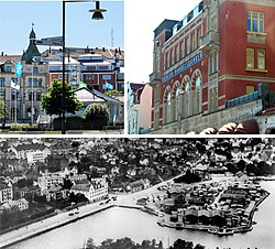Oskarshamn upper left: Skeppsbron; upper right: Building at Lilla torget; bottom: Harbor area.