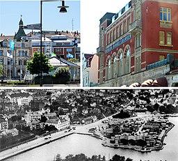 Oppe venstre:   Vy mod Skeppsbron.   Oppe højre:   Handelsbankens bygning på Lilla torvet.   Nedre:   Havneområdet i 1930'erne.