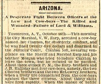 Gunfight at the O.K. Corral - Newspaper coverage of the fight