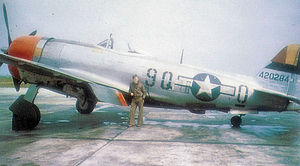 142nd Fighter Wing - Republic P-47D-28-RE Thunderbolt Serial 44-200284 of the 404th Fighter Squadron (photo taken at Fürth/Industrieflughafen, Germany.)