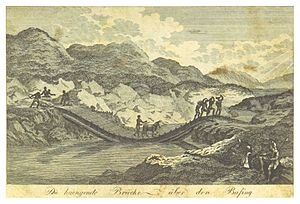 Bafing River - Mungo Park, crossing the Bafing by a bridge (published 1800)