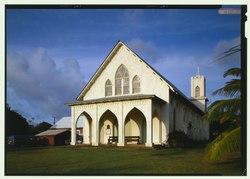 PERSPECTIVE VIEW OF WEST FRONT FROM SOUTHWEST - St. Francis Catholic Church, Moloka'i Island, Kalaupapa, Kalawao County, HI HABS HI,3-KALA,46-22 (CT).tif