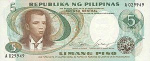 Philippine five peso note - Image: PHP5 Pilipino series bill
