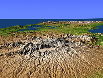 El Valle (volcano) - Perspective view with color-coded shaded relief of Central Panama from the southwest, with El Valle in the foreground
