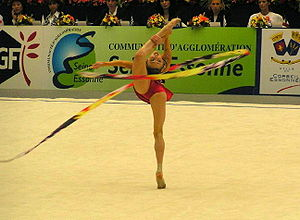 Ribbon (rhythmic gymnastics) - Elizabeth Paisieva performing with a ribbon