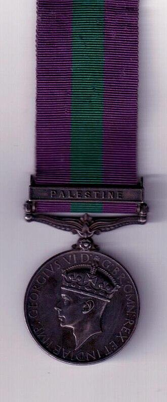 M.T. Abraham Foundation - Image: Palestine General Service Medal