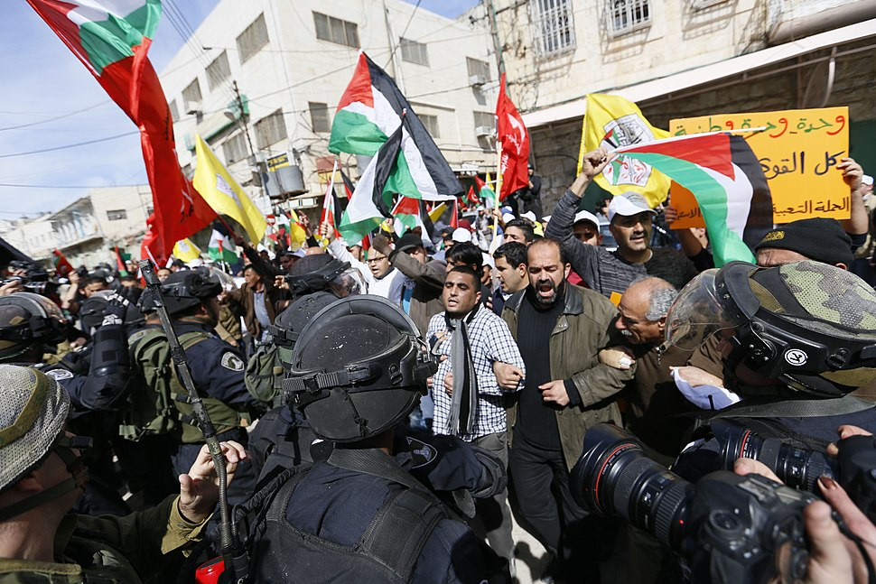 Palestinians demonstrate in the 20th anniversary of the Massacre of Hebron