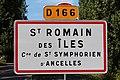 Panneau entrée St Romain Îles St Symphorien Ancelles 4.jpg