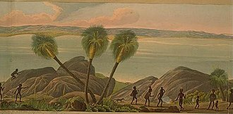 Indigenous peoples of Australia - Detail from Panoramic View of King George's Sound (1834), depicting the local Noongar people.