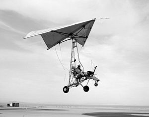 Ultralight trike - First towing tests of NASA's Paresev glider (Para Wing Research Vehicle), March 1962.