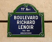 Targa toponomastica del boulevard Richard Lenoir, a Parigi.