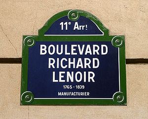 Boulevard Richard-Lenoir - Image: Paris Boulevard Richard Lenoir Plaque