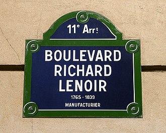 Boulevard Richard-Lenoir - Image: Paris Boulevard Richard Lenoir Plaque