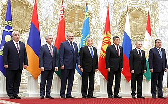 Jeenbekov with other CSTO leaders at the CSTO summit in Minsk, November 2017. Participants in the CSTO Collective Security Council meeting.jpg