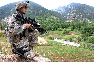 Parun District - A US soldier pulls security in Parun District in 2007