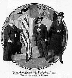 "The Passing Show of 1916 - Spoof in which Theodore Roosevelt, Woodrow Wilson and Charles Evans Hughes seek the hand of ""Miss Nomination"""