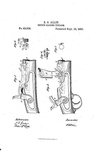 Springfield Model 1865 - Drawing from Erskine S. Allin's patent for the Model 1865's breech-loading system.