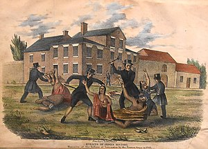 Pontiac's War - Massacre of the Indians at Lancaster by the Paxton Boys in 1763, lithograph published in Events in Indian History (John Wimer, 1841).
