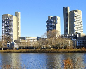 Peabody Terrace - View from southwest across the Charles River