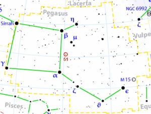 51 Pegasi b - The location of 51 Pegasi in Pegasus