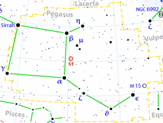 The red circle marks the position of Helvetios (51 Pegasi) in the constellation Pegasus.
