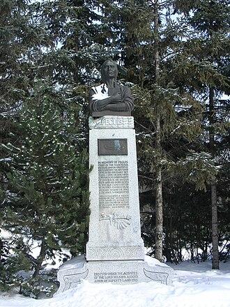 Peguis - Peguis monument at Kildonan Park, Winnipeg. A conventional representation, since no portrait was made in life.