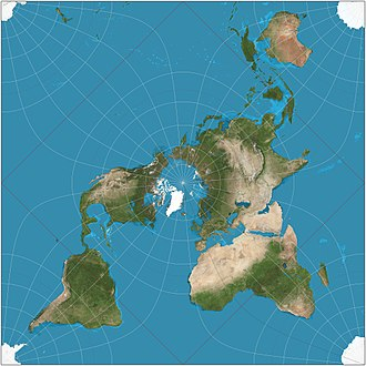 Peirce quincuncial projection - Peirce quincuncial projection of the world. The red equator is a square whose corners are the only four points on the map at which the projection fails to be conformal.