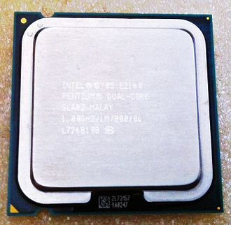 Pentium Dual-Core - A Pentium Dual-Core E2160 processor, clocked at 1.80 GHz and with 1 MB L2 Cache