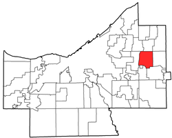 Location of Pepper Pike in Cuyahoga County