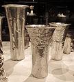 Perù, chimù, bicchiere, XIV-XV sec, argento sbalzato 01.JPG
