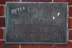 Birmingham Corporation Water Department - City of Birmingham Water Department sign at Perry Barr Reservoir
