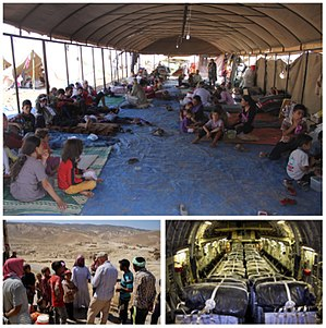 Genocide of Yazidis by ISIL - Images from top, left and right: Yazidi refugees receiving support from the International Rescue Committee. A member of the U.S. Mt. Sinjar Assessment Team being greeted by locals near Sinjar, Iraq. Bundles of water inside a C-17 Globemaster III before a humanitarian airdrop by the United States Air Force.