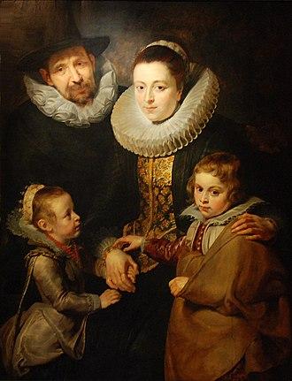 Jan Brueghel the Elder - Jan Breughel with his second wife and their eldest children by Rubens
