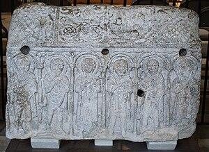 "Medeshamstede - Anglo-Saxon sculpture from Medeshamstede: the so-called ""Hedda Stone"", kept in Peterborough Cathedral"