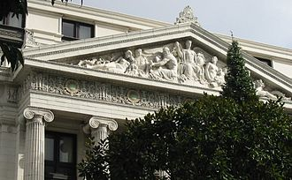 Haig Patigian - Entrance of 600 Stockton, San Francisco, the former Metropolitan Life building, now a Ritz-Carlton hotel. Visible behind a decorated Christmas tree are the Ionic columns surmounted by a pediment containing a tableau created in 1920 by Patigian for his client Timothy L. Pflueger of Miller and Pflueger, architects