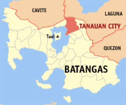 Map of Batangas showing the location of Tanauan