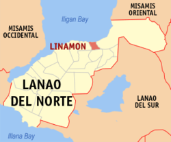 Map of Lanao del Norte with Linamon highlighted