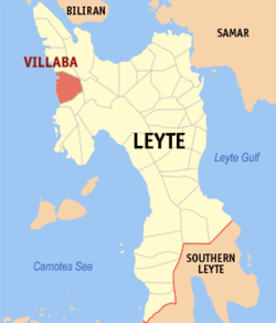Map of Leyte with Villaba highlighted
