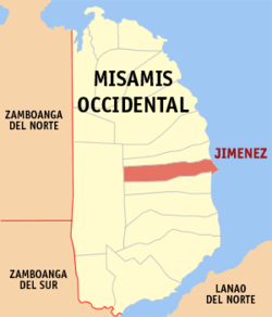 Mapa ti Misamis Occidental a mangipakita ti lokasion ti Jimenez, Misamis Occidental.