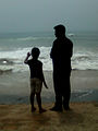 Photograph of Father and Daughter at RK Beach in Visakhapatnam 02.jpg