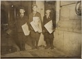 Photograph taken after midnight on April 17, 1912, G St. near 14th. These boys, 10, 11, and 12 years old, were stuck... - NARA - 306616.tif