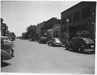 Hastings, Nebraska - Looking east on First Street, circa 1944