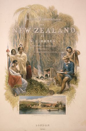 Alfred Ludlam - Lower inset shows Ludlam's windmill on the Hutt River in 1845
