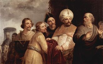 Pieter de Grebber - Elisha (on the right) refusing the gifts of Naaman. (1637)