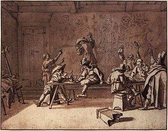 Bentvueghels - Bentvueghels in a Roman Tavern, by Pieter van Laer