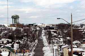 Urban neighbourhoods of Sudbury - Pine Street Looking East 1997 - Ash Street Water Tower (Pearl Street Water Tower in Background)