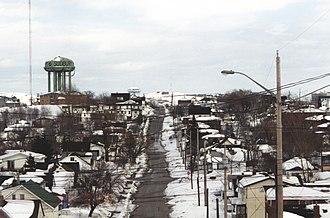Urban neighbourhoods of Sudbury - Pine Street Looking East 1997 - Ash Street Water Tower (Pearl Street Water Tower in Background)