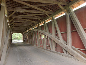 Pinetown Bushong's Mill Covered Bridge - Image: Pinetown Bushong's Mill Covered Bridge Inside HDR 2620px