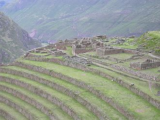 Andén - Andenes in the Sacred Valley at Pisac, Peru.